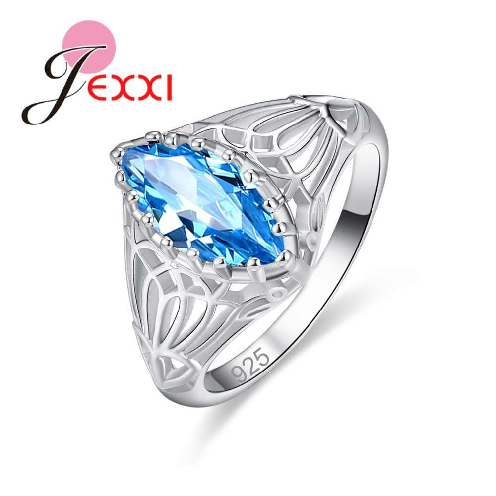 2019 Luxury Brand Inlay Cubic Zirconia Unique Shaped 925 Sterling Silver Ring For Women Wedding Engagement Jewelry