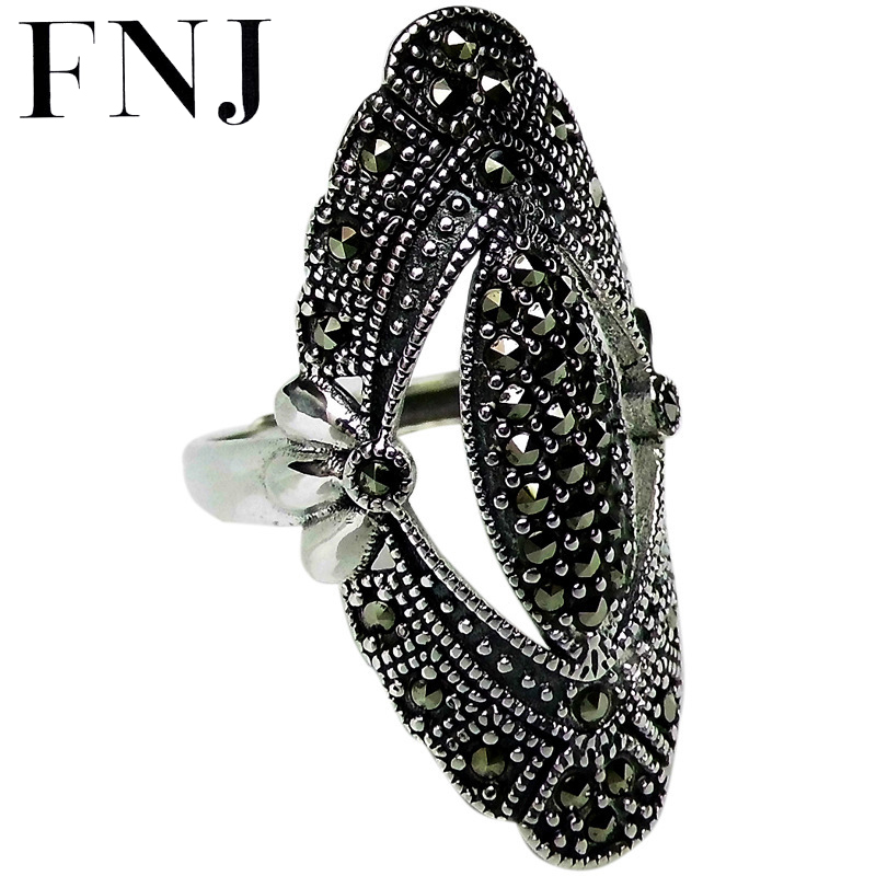 FNJ MARCASITE Rings 925 Silver Adjustable Size Open Popular S925 Solid Silver Ring For Women Fine Jewelry