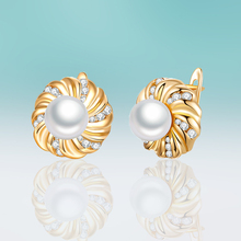 New Fashion Gold/silver Color Plated Small Round Pearl Earrings Cubic Zirconia Stud Earrings for Women Jewelry Simple Gift