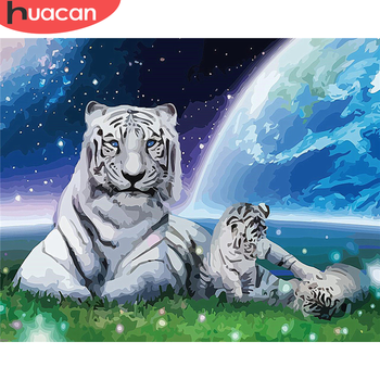 HUACAN DIY Pictures By Number Tiger Kits Hand Painted Paintings Art Painting By Numbers Animal Drawing On Canvas Home Decor
