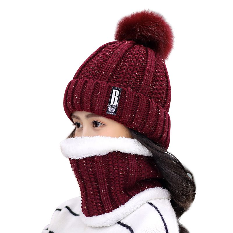 Best Selling Fashion Novelty Female Velvet Knit Hat+knit Bib Suit Autumn And Winter Thick Warm  Knitted Wool Cap Set New