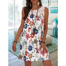 Clássico solto flores vestidos impressos mulheres pullovers o pescoço sem mangas moda 2021 verão roupões mulher vestido feminino