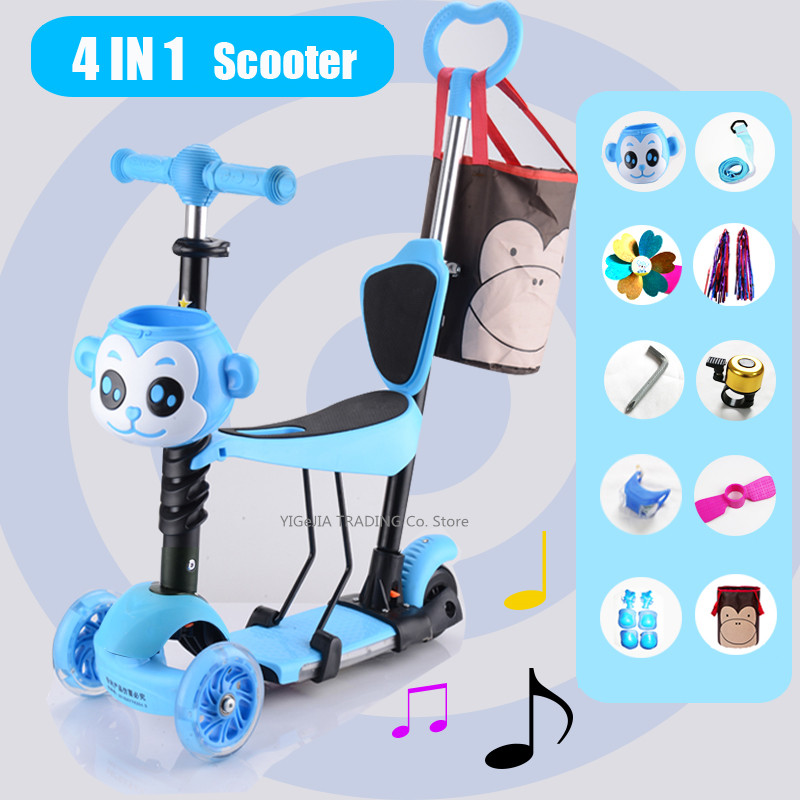 4 In 1 Kids Scooter With Foot Rest Pedal, Child Scoot With 3 Flash Wheels Kick Scooter For Toddler Kids With Mom Bag