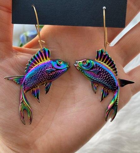 Серьги рыбки в подарок для нее серьги рыбки для рыбалки массивные серьги|Серьги-подвески|   | АлиЭкспресс
