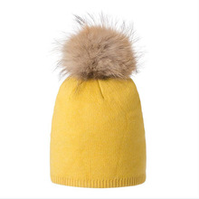 Female Hat Gold wire Wool Raccoon Fox Fur Pom Poms Asymmetry Vogue High Quality Knitted Hats Winter Warm Casual Skullies Beanies