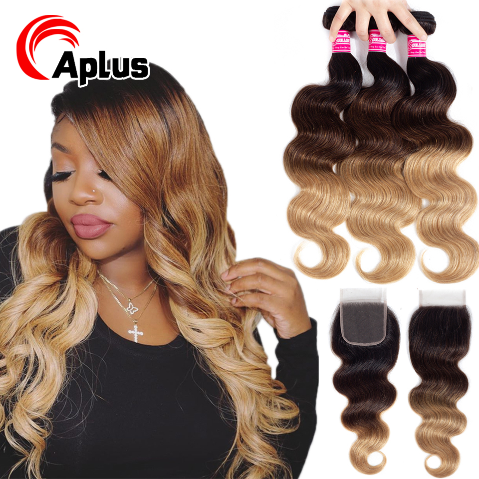 3 Bundles With Lace Closure Ombre Body Wave Indian Hair 1B/4/27 Three Tone Weave Remy Human Hair Bundle Deal With 4x4 Closure