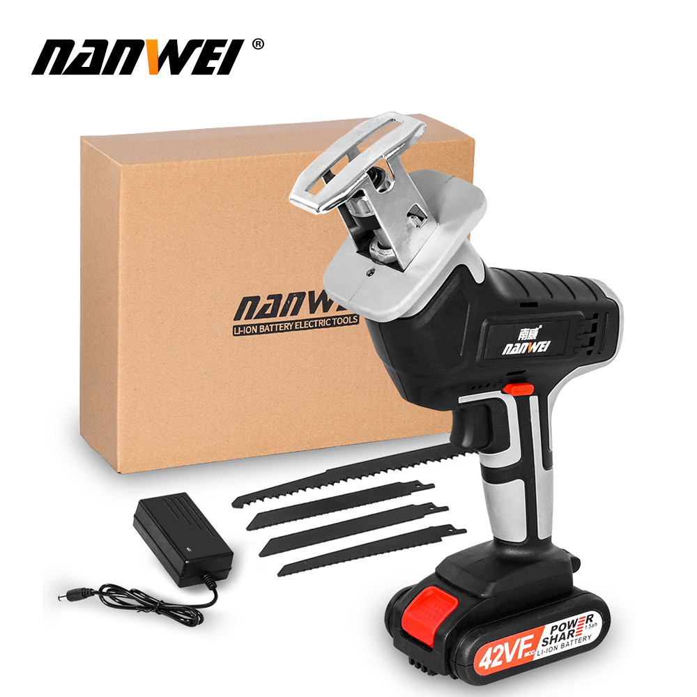18V42vf NANWEICordless Electric Lithium Power tool Portable and rechargeable Hand Reciprocating Saw Saber Saw Multi-function saw - Цвет: 42VF 1B set1