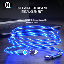 Flow Luminous Lighting Magnetic USB Cable For iPhone XR X 7 8 Micro Type C Charger Fast Charging Magnet Charge USB-C Type-C