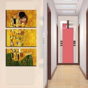 Холст HD принты картины Домашний Декор рамки 3 шт. картина Густава Климта стены искусства для гостиной, что первый поцелуй плакат