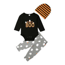 3pcs Newborn Infant Baby Boy Romper Bodysuits+ Trousers Pants+ Headband Outfits Halloween Clothes Baby Set(China)