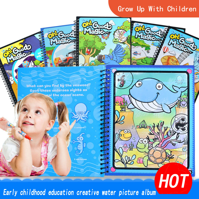 8 Themed Boards Reusable Magic Water Drawing Coloring Book Doodle With Pen Painting Drawing Board Kids Children Education Toy