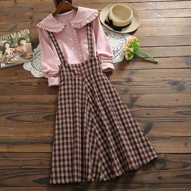 2019 Autumn Women Two piece set Casual Long Sleeve Cotton Shirt Tops + Long Plaid Skirts Womens Suit Set 2 Piece Set Women