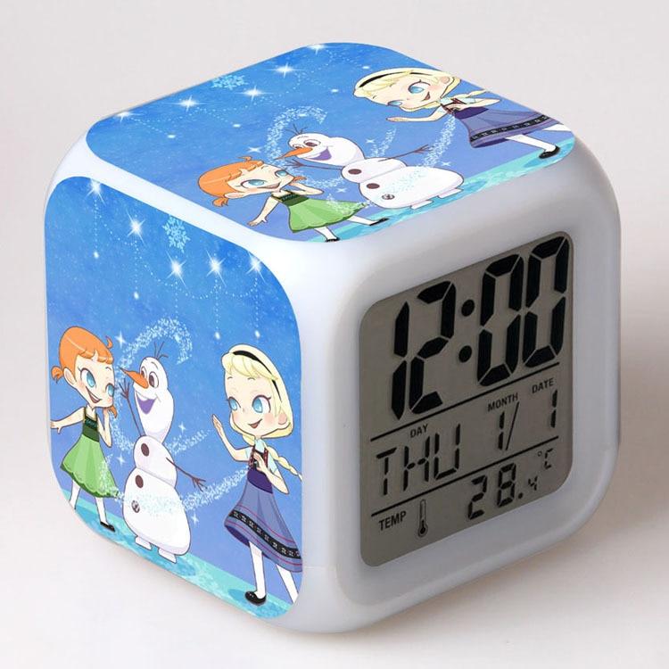 Congelado despertador congelado neve rainha princesa anna colorido humor relógio quadrado pode ser luminoso e recarregável