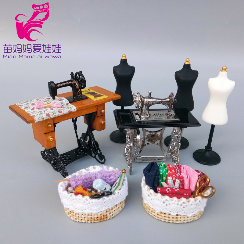 Doll House Decoration Accessories Mini Sewing Machine Clothing Model Barn Lantern Metal Teapot With Tray For Barbie Blythe Doll