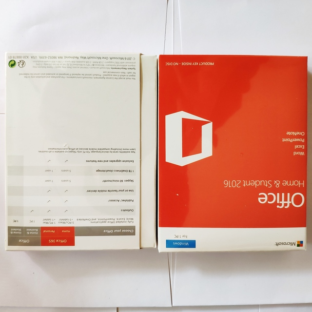 Microsoft Office Home & Student 2016 License For Windows Retail Boxed License Product Key Card