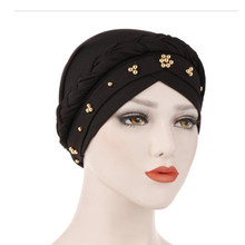 Turban musulman tressé pour femmes, écharpe à perles, bandana, accessoires pour cheveux