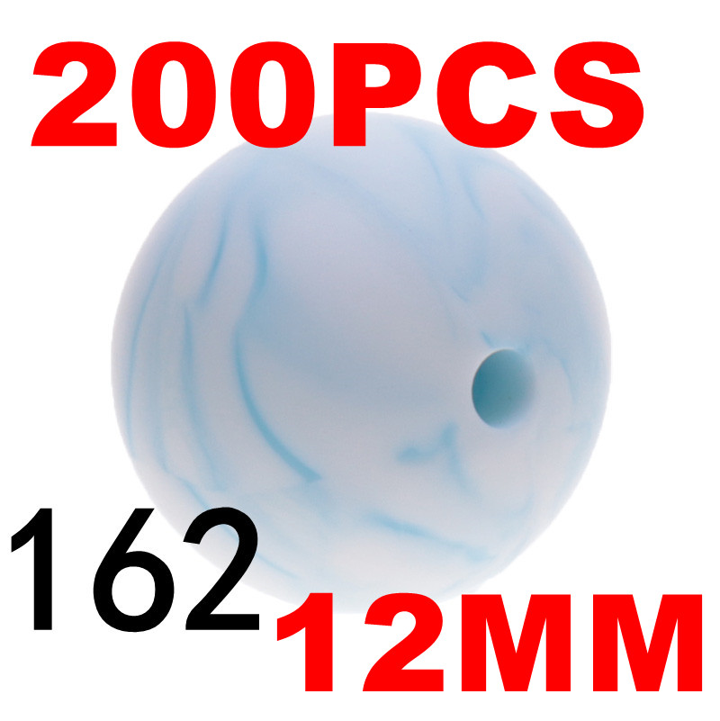 200pcs 12mm Silicone Round Beads BPA Free New Marble Metallic Color Baby Teether Teething Necklace Jewelry DIY Pacifier Chain