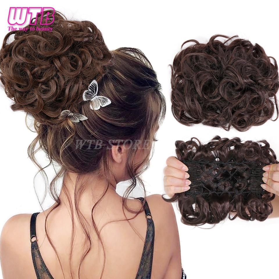 WTB синтетический кудрявый эластичный шиньон, 2 пластиковых расчески, зажимы для наращивания волос, пучок для волос, крышка, аксессуары для во...