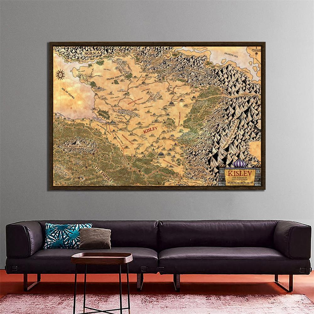 KISLEV The Realm Of The Ice Queen Map Classic Vintage Retro Kraft Decorative Poster Maps Home Bar Posters Wall Decor Painting