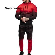 2 Pieces Zipper Tracksuit Men Set Sporting Sweatsuit Clothes Printed Hooded Hoodies Jacket Pants Track Suits Male