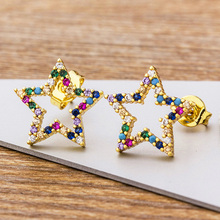 New Simple Colorful Cubic Zirconia Star Stud Earrings Gold CZ Female Fashion Copper Jewelry For Women Girls Party Wedding Gifts 585 rose gold colorful cubic zirconia dangel earrings fashion brand engagement earrings jewelry for women wedding party jewellry
