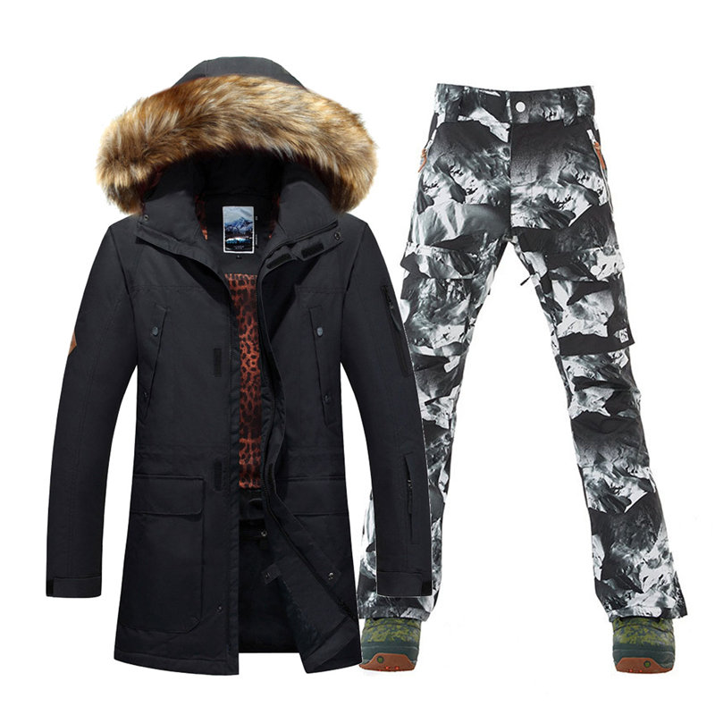 High Quality Men Snow Jackets + Ski Pants Outdoor Sports Snowboarding Suit Sets Waterproof Windproof Skiing Clothes Snow Costume