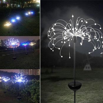 90/120/150 LED Solar Light Eight Function Modes 2pcs Dandelion Lawn Lights Fireworks Lamp Outdoor Waterproof Garden