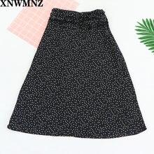 Xnwmnz Сексуальная Милая Черная Женская юбка в горошек винтажная
