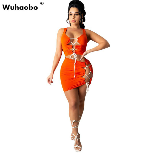 Hollow Out Sexy Women Dress Drawstring Bandage Mini Dresses Female Summer Ruched Party Two piece Vest Set Vestidos 2021 1