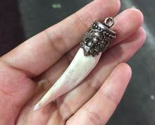 China Teeth of wolves Tibetan silver tooth Pendant decorate Statue(China)