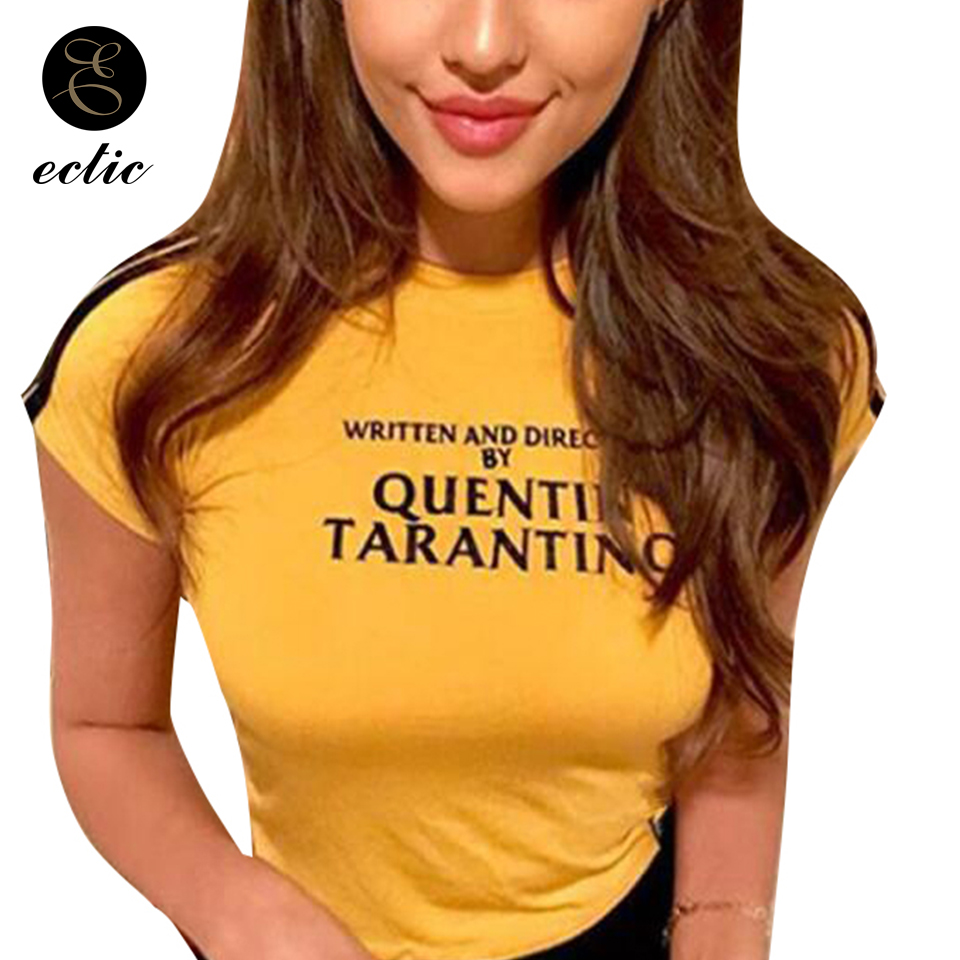 short-tights-women-vetement-femme-2019-cropped-casual-crop-top-yellow-tshirt-written-and-directed-by-quentin-font-b-tarantino-b-font-shirt