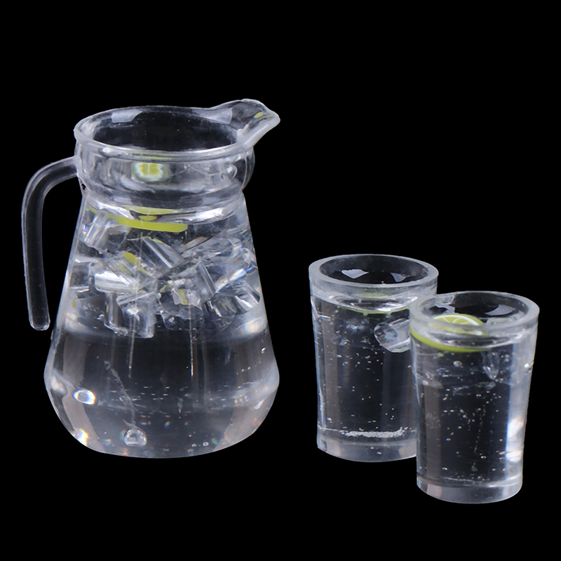 Simulation Mini Juice Jug Cup Set Drink Milk Model Toys For Doll House Decoration 1/12 Dollhouse Furniture Accessories