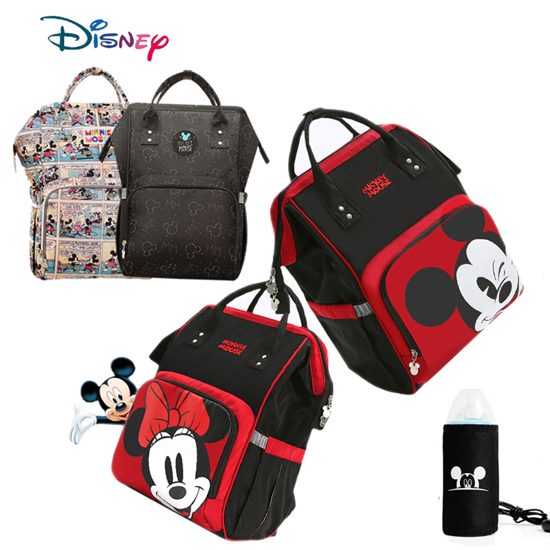 Disney Diaper Bag Mummy Backpack USB Bottle Heating Baby Bag For Mommy Maternity Mother Nappy Bag Wet Bag Mickey Mouse Wallet
