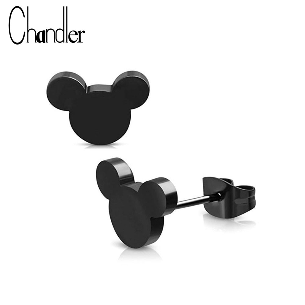 Chandler Hot 316L Stainless Steel Mickey Earrings For Children Kids Mouse Jewelry Cute Lovely Animal Black Rose Color Bronics