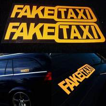 1Pcs Car Decorate Sticker FAKE TAXI Novelty Joke Funny Car Window Sticker Fashion Waterproof Vinyl Styling Auto Exterior TSLM1(China)