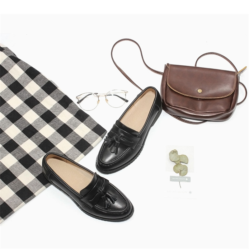 Spring Autumn New Pedal Genuine Leather Loafers Shoes Women British Polished Flat Tassel Oxford Shoes For Woman Large Size 32-43 (18)