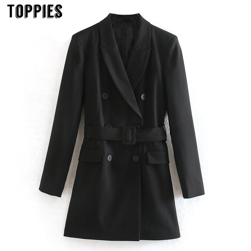 2020 Spring Black Long Balzer Jacket Women Double Breasted Suit Jacket Office Lady Formal Balzer
