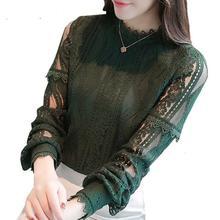 3XL размера плюс, весна, новинка, женские кружевные рубашки с длинным рукавом, блузы, повседневные топы, рубашки, зеленая блузка, Blusas Femininas