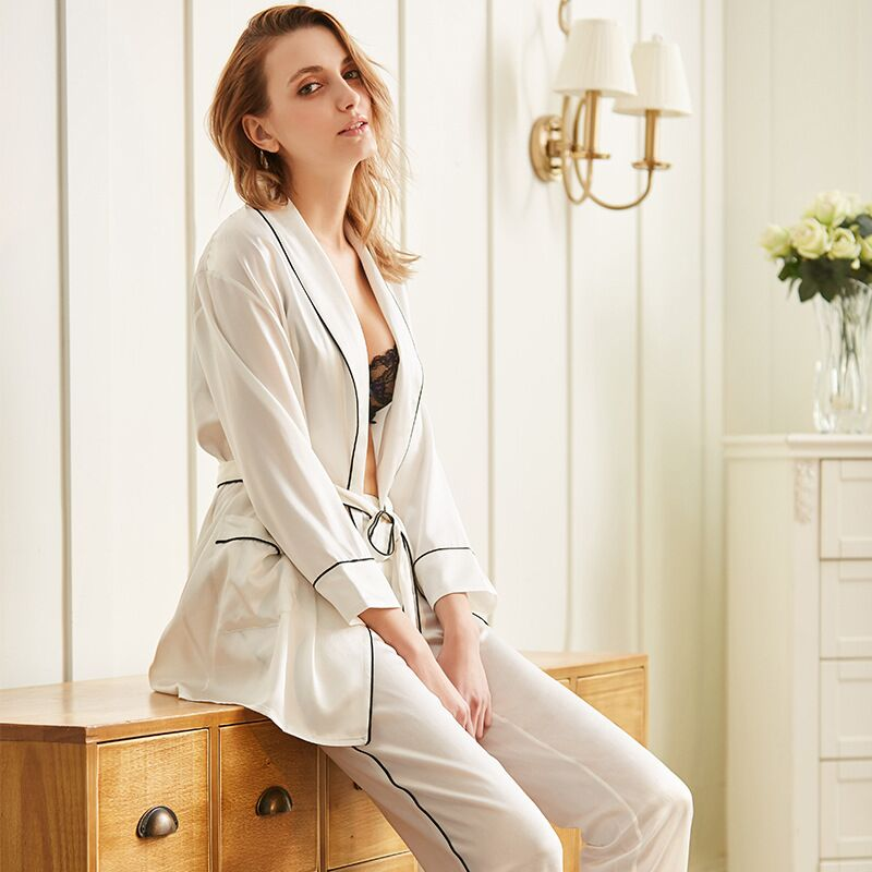 Pure Silk Pajamas Set Women's Pijama Pyjamas Feminino Sleepwear Women 100% Genuine Silk Mulberry With Belt Sleepwear