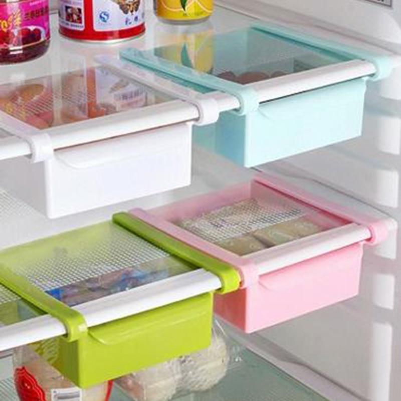 Mini ABS DIY Slide Kitchen Fridge Freezer Space Saver Organization Storage Rack Bathroom Shelf Rack Organizer Holder-in Storage Holders & Racks from Home & Garden
