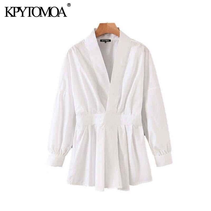 Vintage Stylish Office Wear White Blouses Women 2020 Fashion V Neck Long Sleeve Back Elastic Female Shirts Blusas Chic Tops