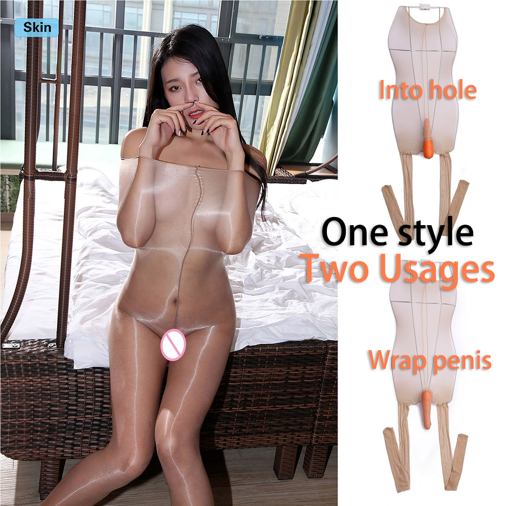 1D Oil Shine Super High Waist Sheer To Chest Pantyhose Bodystockings With Penis Cover Or Into Hole Sheath Two Usages DOYEAH 0108
