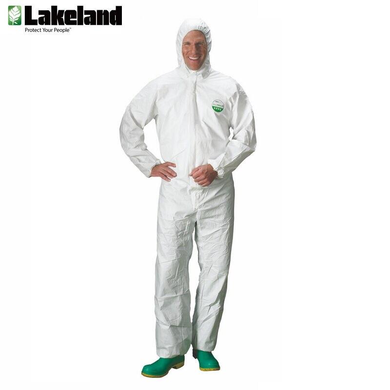 Lakeland AMN428E Waterproof Reusable Antistatic Unisex Clothing Clean Room Laboratory Breathable Bodysuit Medical White Lab Coat