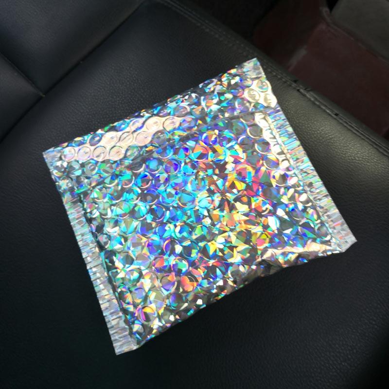 18x13cm Laser Silver Packaging Shipping Bubble Mailer Gold Foil Plastic Padded Envelope Gift Bag Mailing Envelope Bag