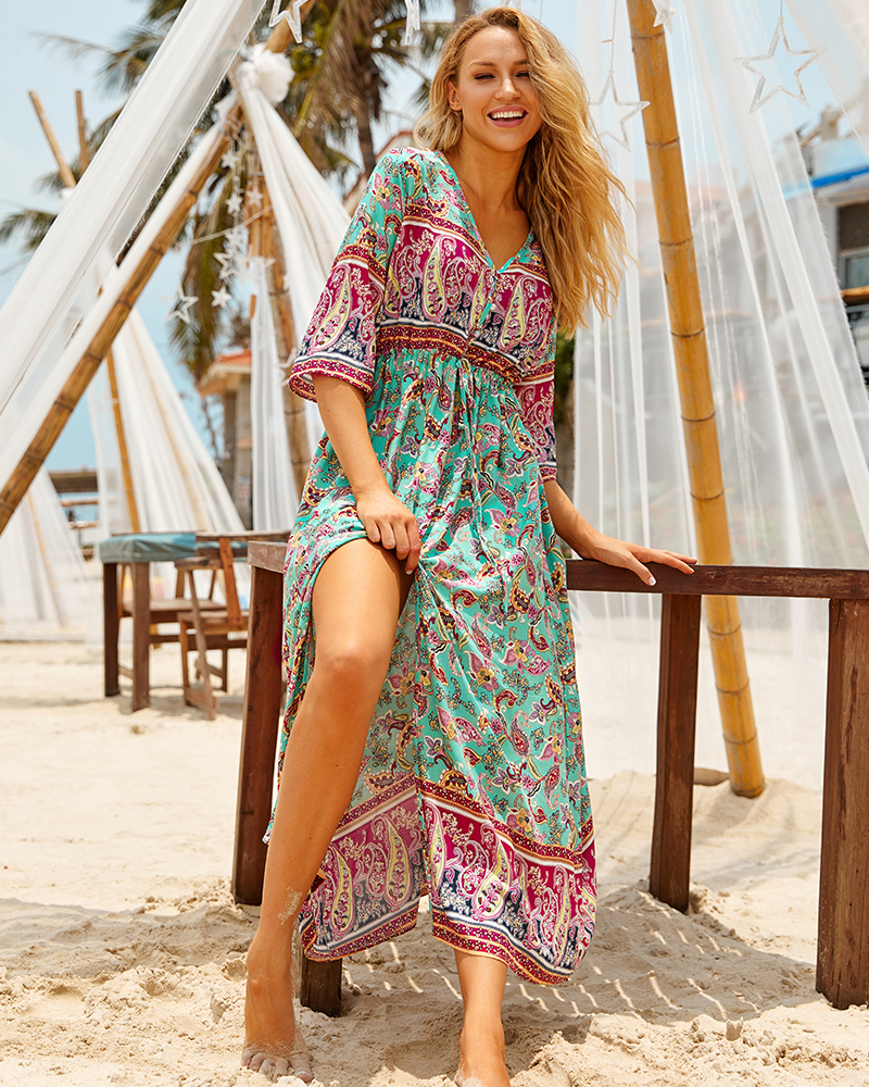 H406708d1d71d4e32bd43283031e95117G - Sexy Bikini Cover ups Cotton Tunic Boho Printed Summer Beach Dress Elegant Women Plus Size