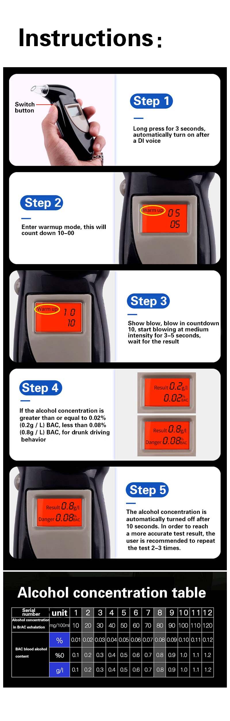 1 шт. портативный цифровой алкотестер с подсветкой цифровой алкотестер дыхания Алкотестер Анализатор ЖК-детектор светильник подсветки