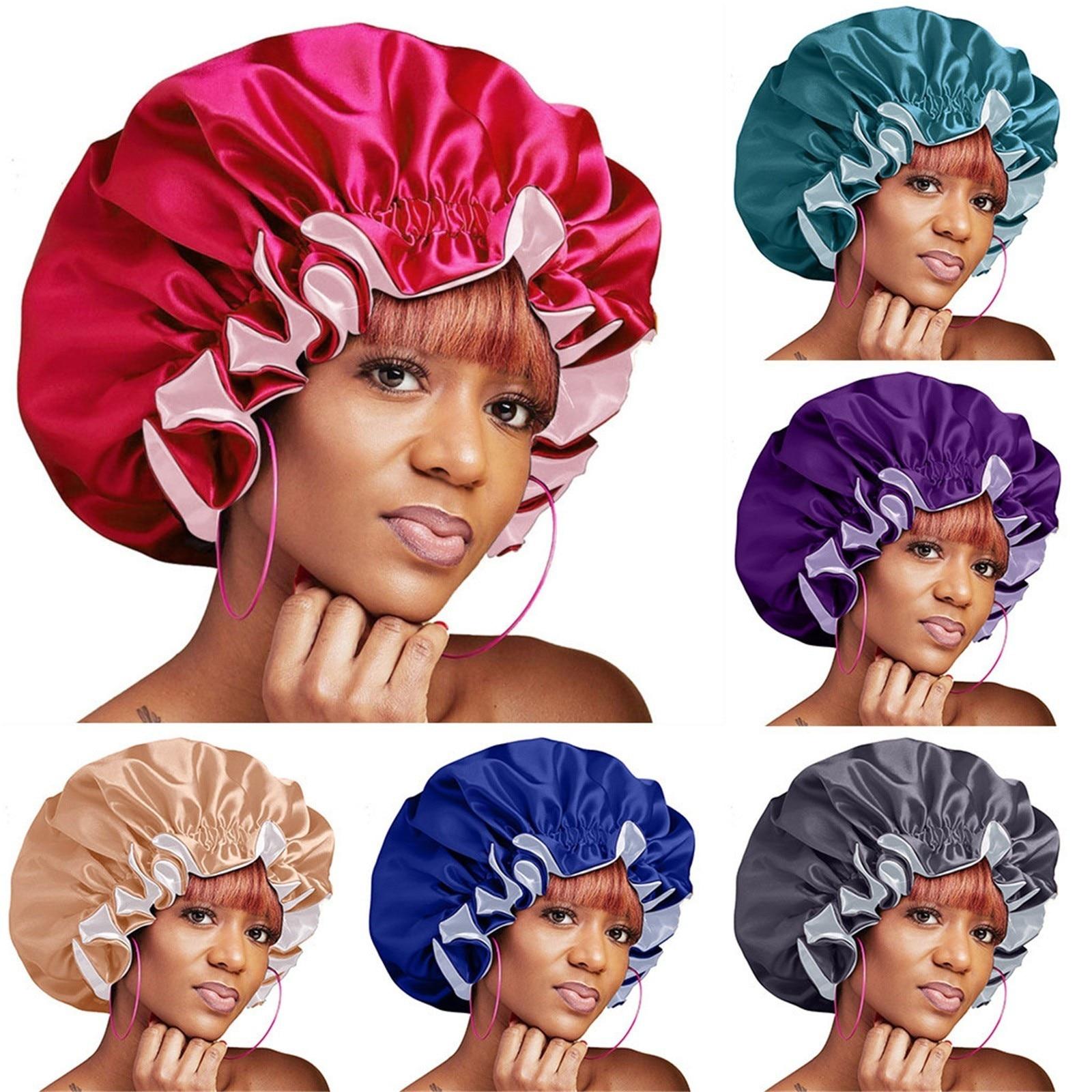 Shower Caps Accessories Double Layer Reversible Adjustable   Solid Color Satin Bonnet Sleep Bonnet Cap Large Satin Cap Headwrap