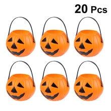 Cubo de plástico con forma de calabaza para el hogar, caja organizadora de decoraciones de fiesta de Halloween, accesorios de rendimiento elegantes, 20 Uds.