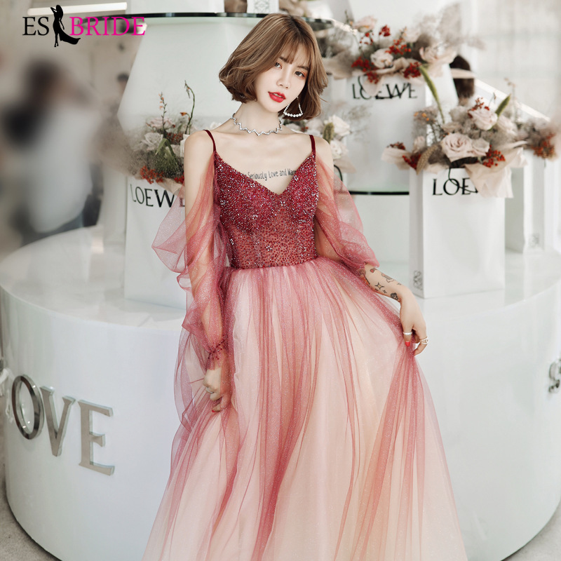 Elegant Tulle Evening Dresses ES3168 A-Line V-Neck See-Through Long Sleeves Evening Party Gowns Robe De Soiree 2020