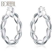 DOTEFFIL 925 Sterling Silver Twisted Rope Loop 38mm Circle Hoop Earring For Woman Fashion Party Wedding Engagement Party Jewelry